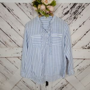 easel Striped Laced Up Shirt M